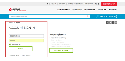 My Account Sign-in Page