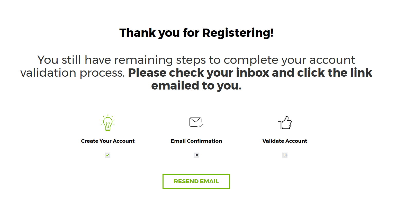 New Account Registration Confirmation Page