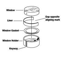Analytical cell window assembly with AUC