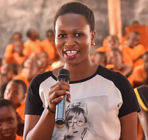 CARES Award Girl with microphone