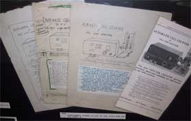Hand-drawn advertising drafts of the first Coulter Counter