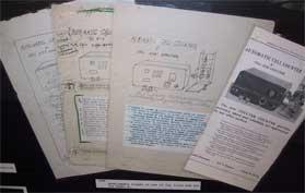 Borradores de publicidad dibujados a mano del primer contador Coulter