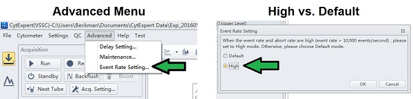 Change the Event Rate Setting to High