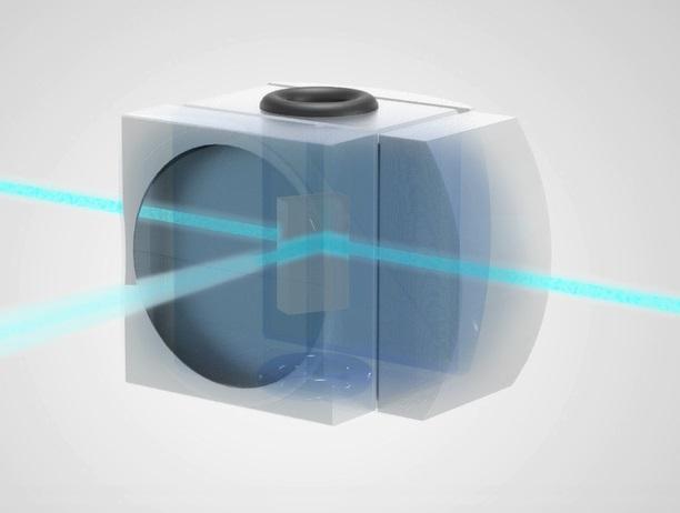 Cubeta de flujo con óptica integrada para citometría de flujo