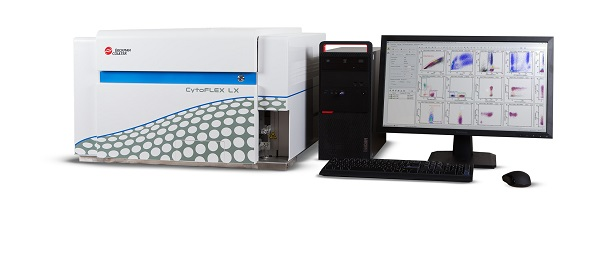CytoFLEX LX flow cytometer with cytexpert software computer monitor