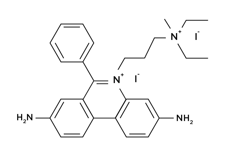 Chemical structure of propidium iodide