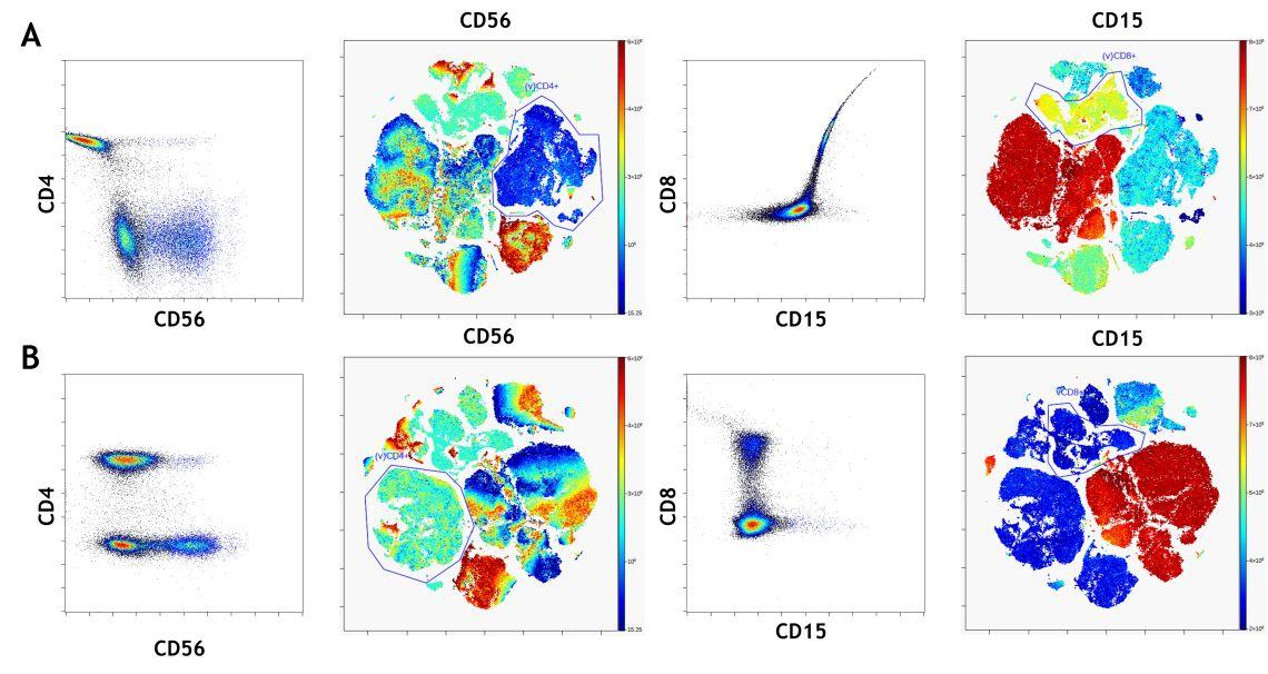 Effect of fluorescence spillover compensation on viSNE visualization