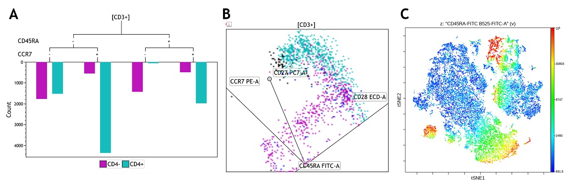 Flow cytometry data visualizations of T cell memory marker expression