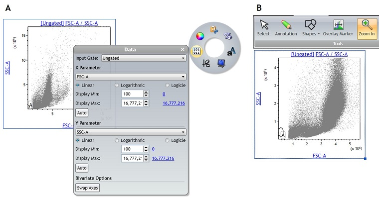 Kaluza Analysis Software data scaling menu