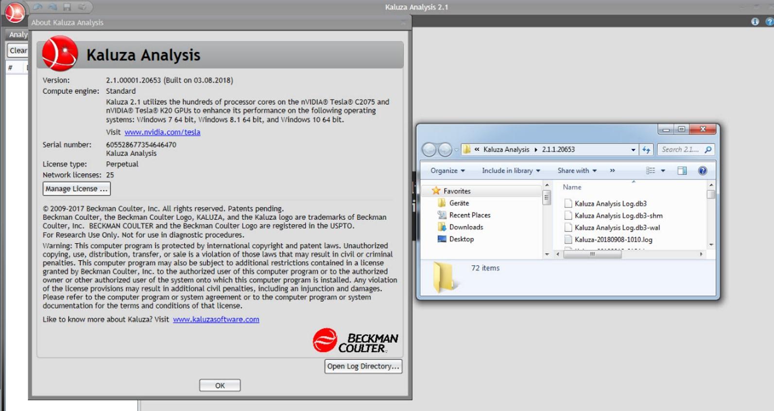 Kaluza Flow Cytometry Analysis Software Troubleshooting Screen