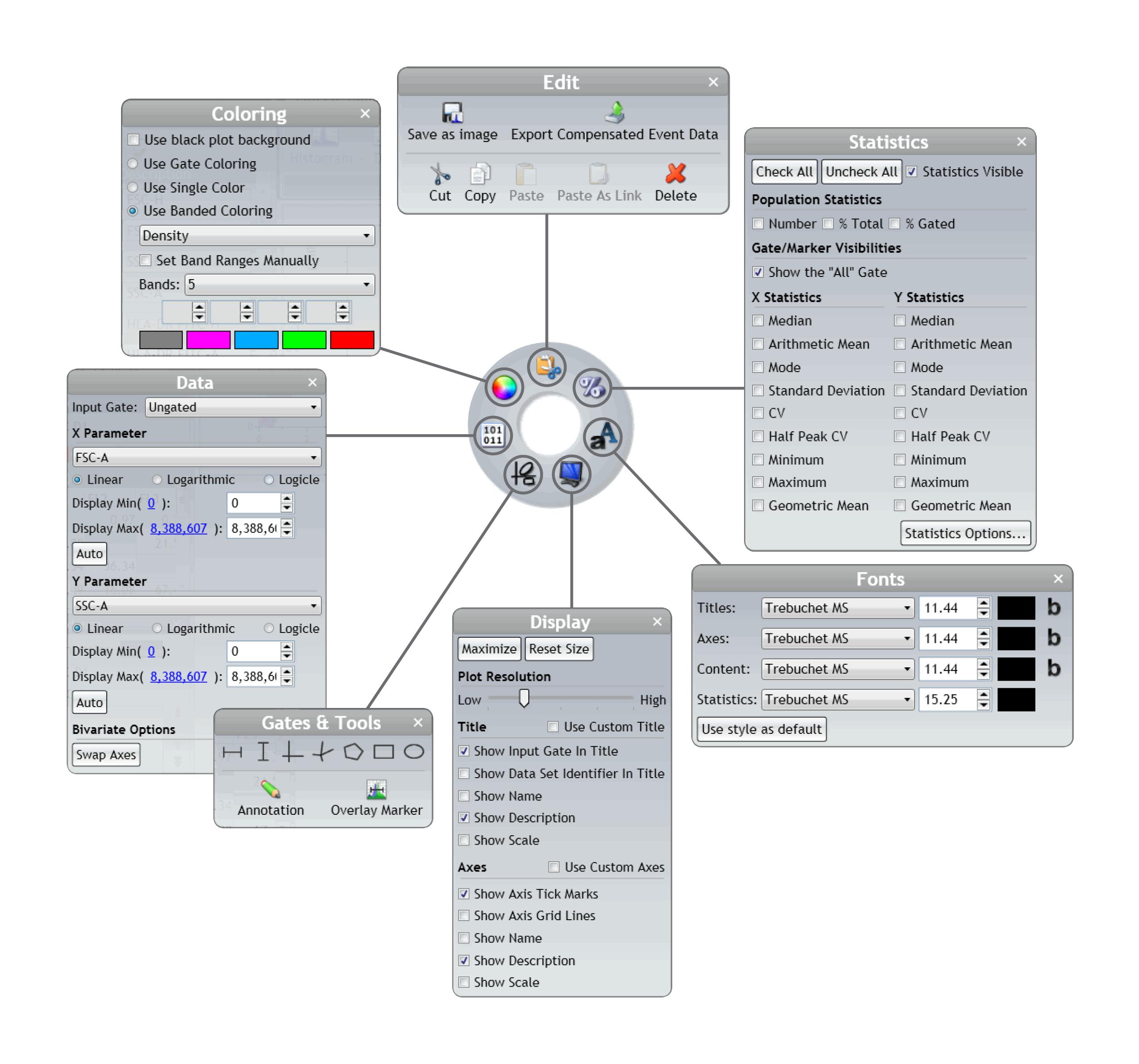 Menus radiais de contexto específico do software Kaluza Analysis