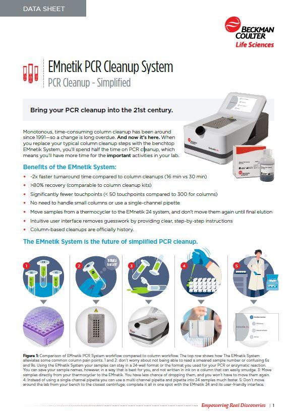 EMnetik PCR Cleanup Performance Data Image