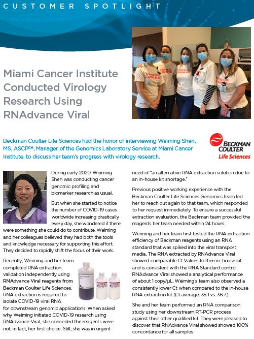 Miami Cancer Institute Conducted Virology Research Using RNAdvance Viral