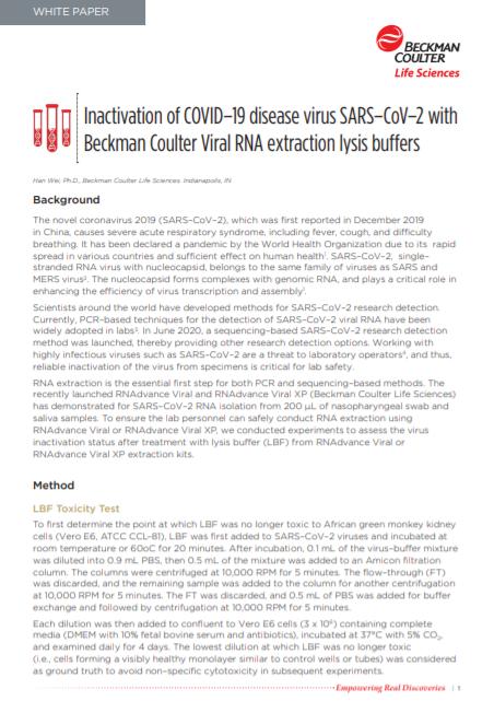 White Paper Inactivation Study COVID-19 PDF