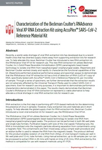 White Paper: Characterization of RNAdvance Viral XP RNA Extraction Kit using AccuPlex™ SARS–CoV–2 Reference Material Kit