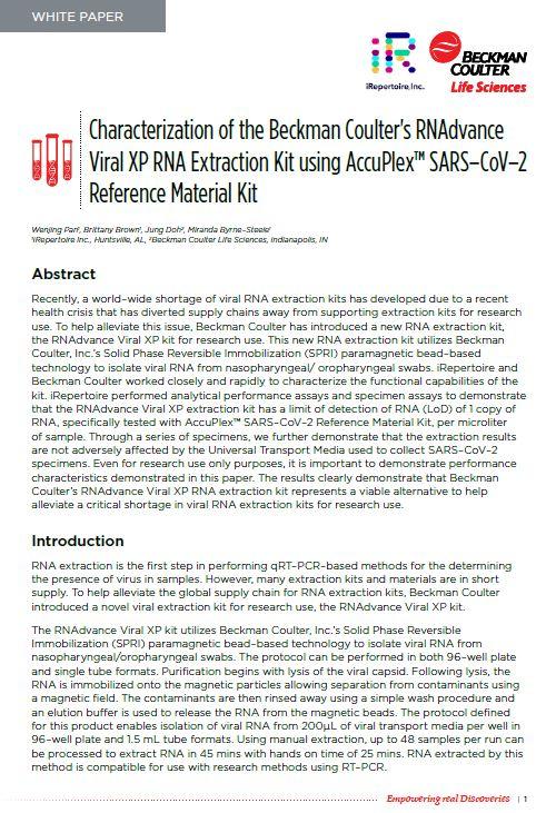 白皮书:使用 AccuPlex™ SARS-CoV-2 参比品试剂盒的 RNAdvance Viral XP RNA 提取试剂盒的特征