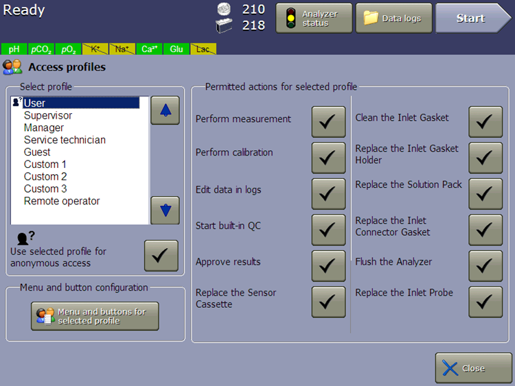 vi-cell metaflex software access profiles actions for selected profiles 21 cfr part 11 compliance