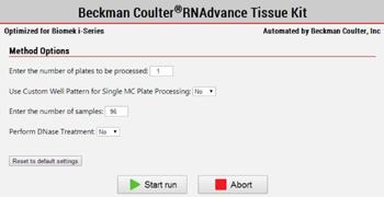 Выбор числа образцов и варианта их обработки в программном модуле Biomek Method Options Selector