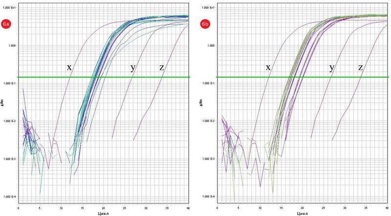 Графики амплификации количественной ПЦР в режиме реального времени (зависимость флуоресценции от числа циклов) для матриц РНК в случае ручного(a) и автоматизированного(b) методов