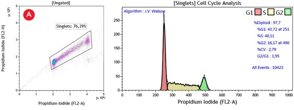 Данные, подтверждающие эффективность реагента Cell Cycle Kit