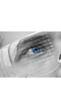 Binary code reflection on safety glasses